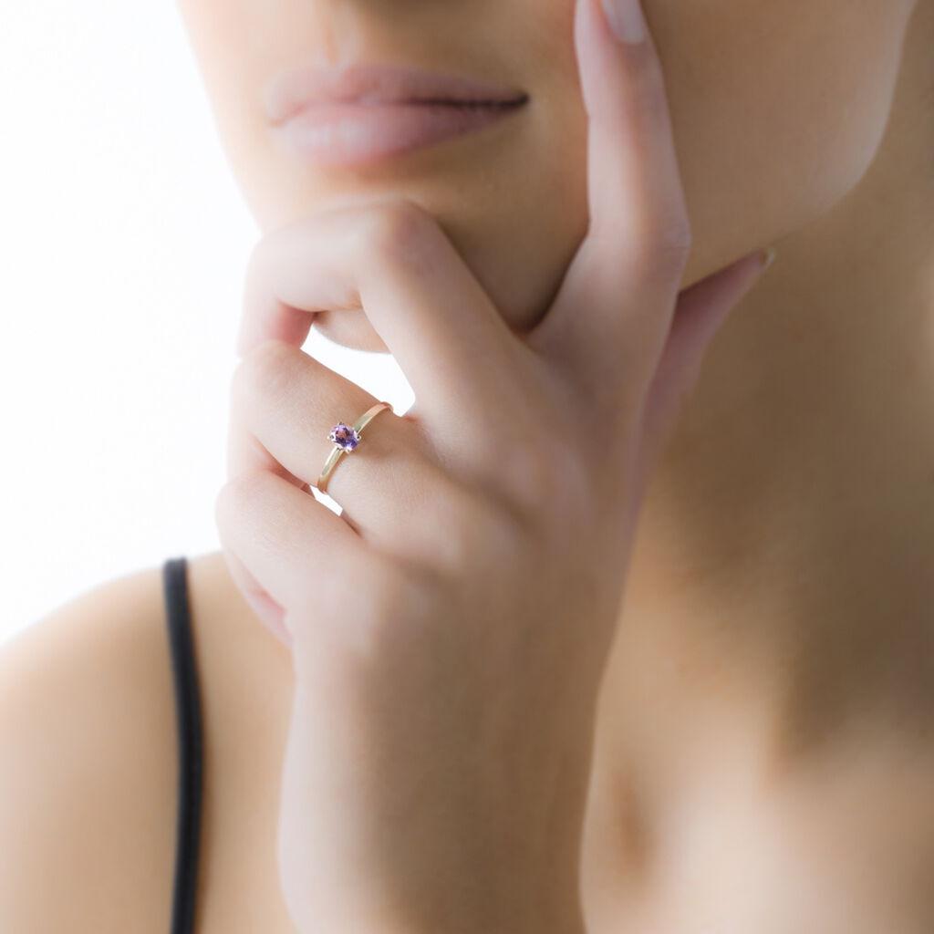 Bague Lily Or Rose Saphir - Bagues avec pierre Femme   Histoire d'Or