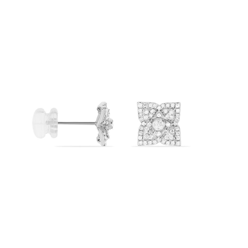 Boucles D'oreilles Puces Aelai Or Blanc Diamant - Clous d'oreilles Femme | Histoire d'Or