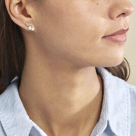 Boucles D'oreilles Puces Loeva Or Jaune Perle De Culture Et Oxyde - Clous d'oreilles Femme   Histoire d'Or