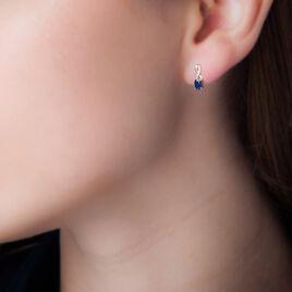 Boucles D'oreilles Puces Or Jaune Saphir Et Diamant - Clous d'oreilles Femme   Histoire d'Or