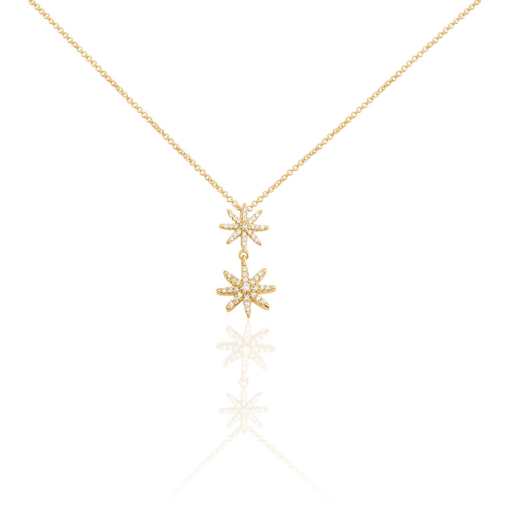 Collier Marcellina Plaque Or Jaune Oxyde De Zirconium - Colliers Etoile Femme   Histoire d'Or