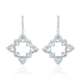 Boucles D'oreilles Pendantes Or Blanc Topaze Oxyde De Zirconium - Boucles d'oreilles pendantes Femme | Histoire d'Or