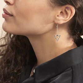Boucles D'oreilles Pendantes Fidela Argent Blanc - Boucles d'oreilles fantaisie Femme | Histoire d'Or