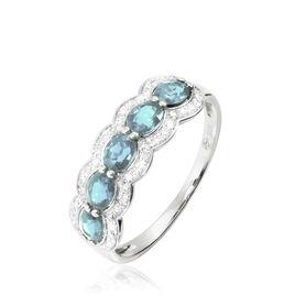 Bague Margaux Or Blanc Aigue Marine Et Diamant - Bagues avec pierre Femme   Histoire d'Or