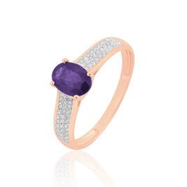 Bague Crista Or Rose Amethyste Et Diamant - Bagues avec pierre Femme | Histoire d'Or