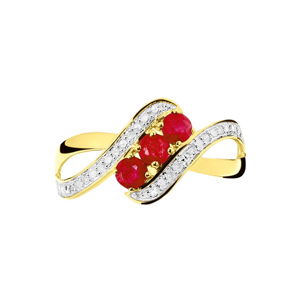Bague Simma Or Jaune Diamant Et Rubis - Bagues avec pierre Femme   Histoire d'Or