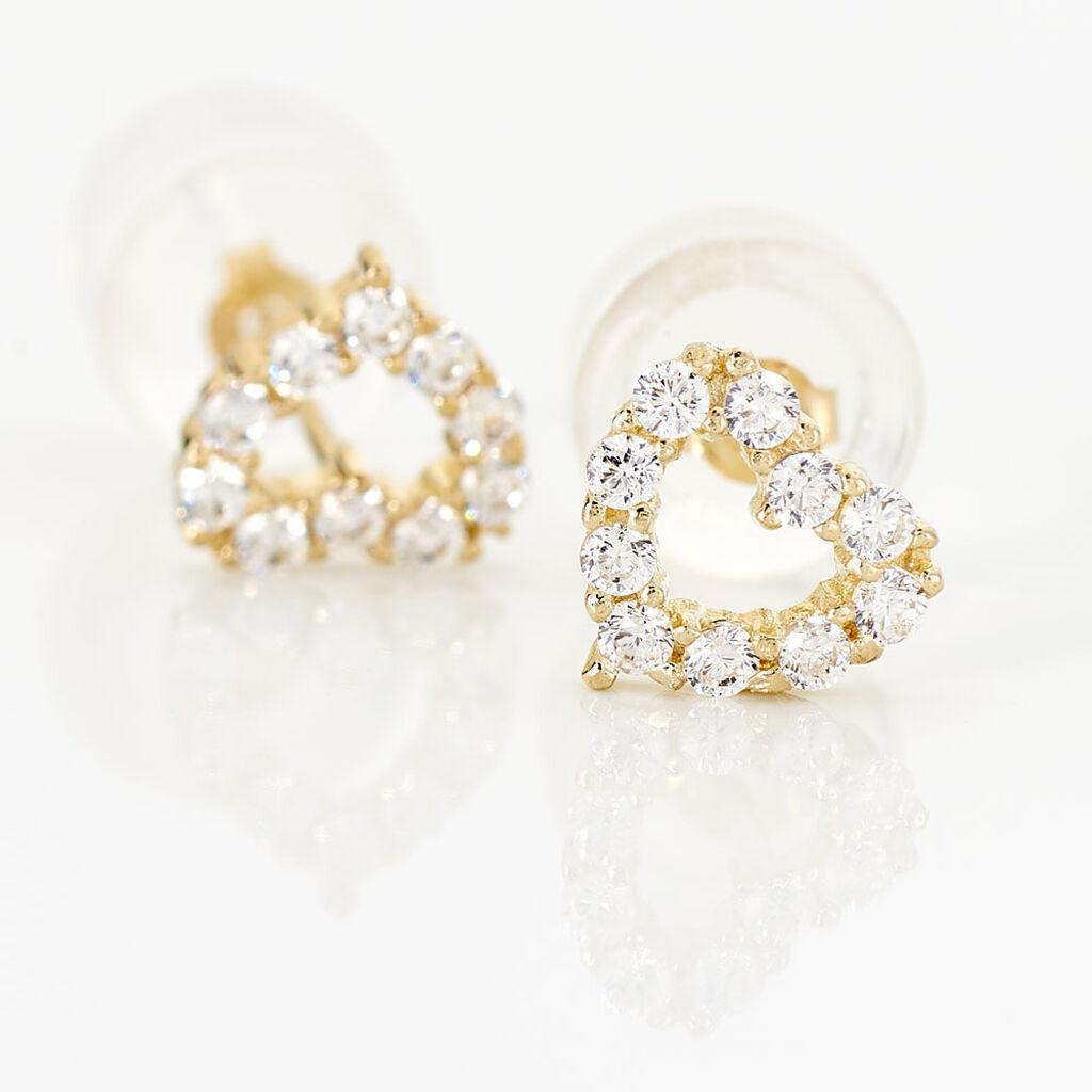 Boucles D'oreilles Puces Coeur Ajoure Or Jaune Oxyde De Zirconium - Boucles d'Oreilles Coeur Femme   Histoire d'Or