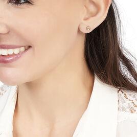Boucles D'oreilles Puces Fidelia Boule Or Rose - Clous d'oreilles Femme | Histoire d'Or