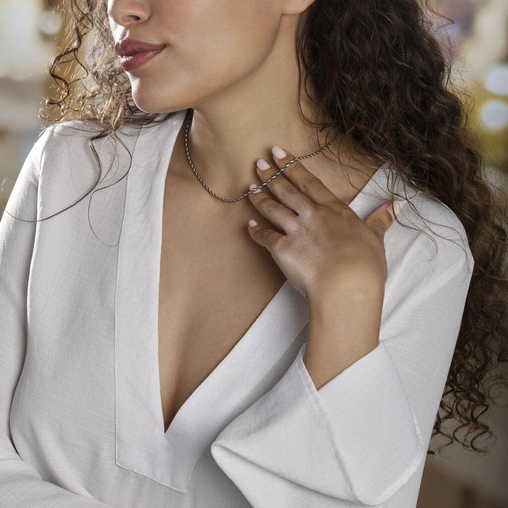 Collier Abie Torsade Argent Bicolore - Chaines Femme | Histoire d'Or