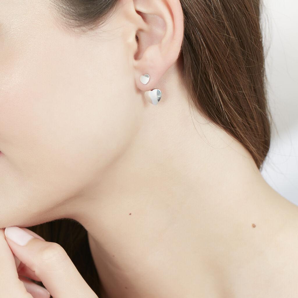 Bijoux D'oreilles Augustine Argent Blanc - Boucles d'Oreilles Coeur Femme | Histoire d'Or