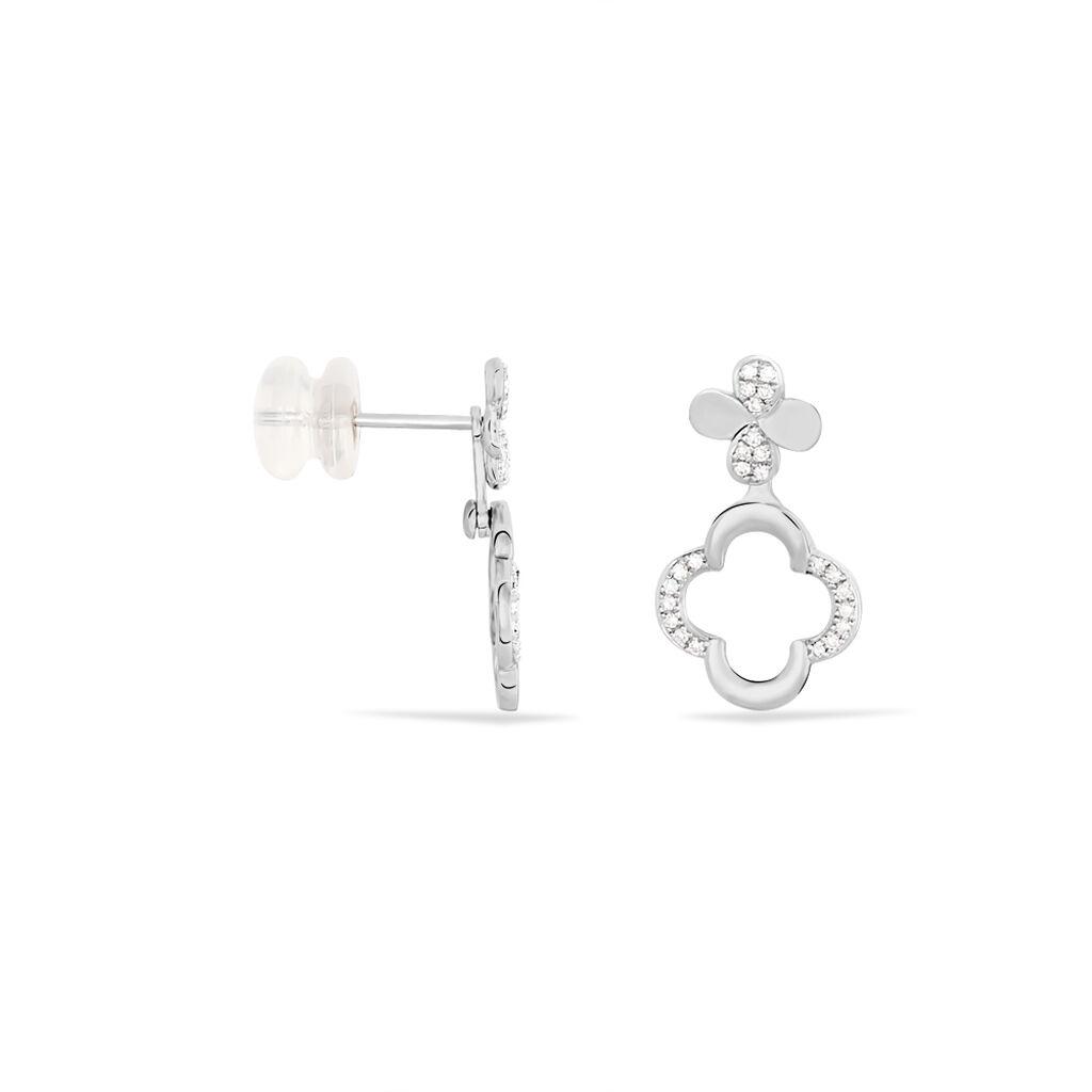 Bijoux D'oreilles Emilia Or Blanc Diamant - Boucles d'Oreilles Trèfle Femme   Histoire d'Or