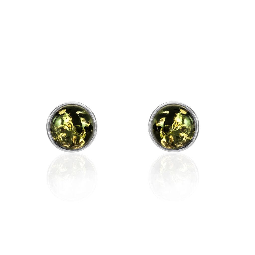 Boucles D'oreilles Puces Acacia Argent Blanc Ambre - Boucles d'oreilles fantaisie Femme   Histoire d'Or