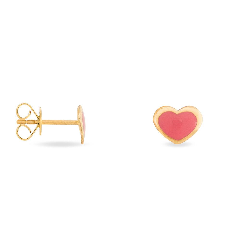 Boucles D'oreilles Puces Coeurs Or Jaune - Boucles d'Oreilles Coeur Enfant | Histoire d'Or