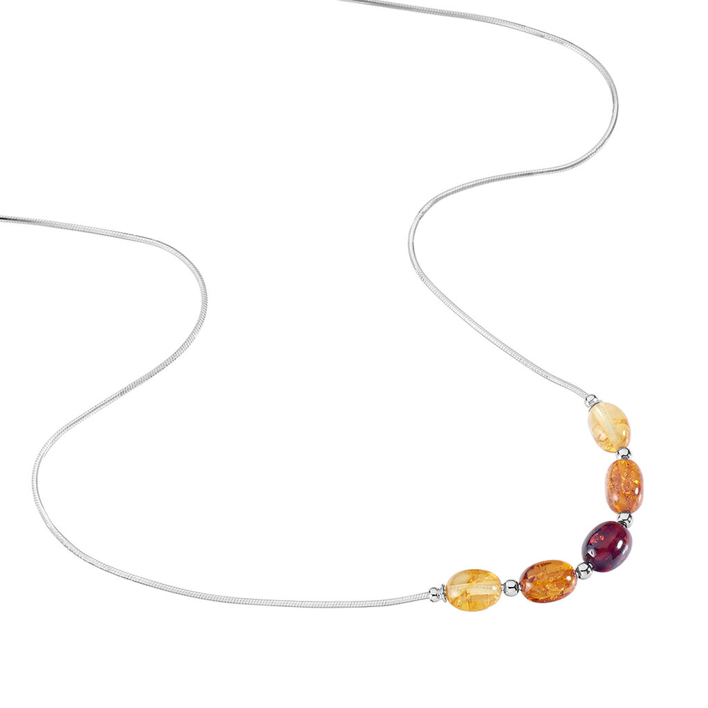 Collier Brunnhild Argent Blanc Ambre - Colliers fantaisie Femme   Histoire d'Or