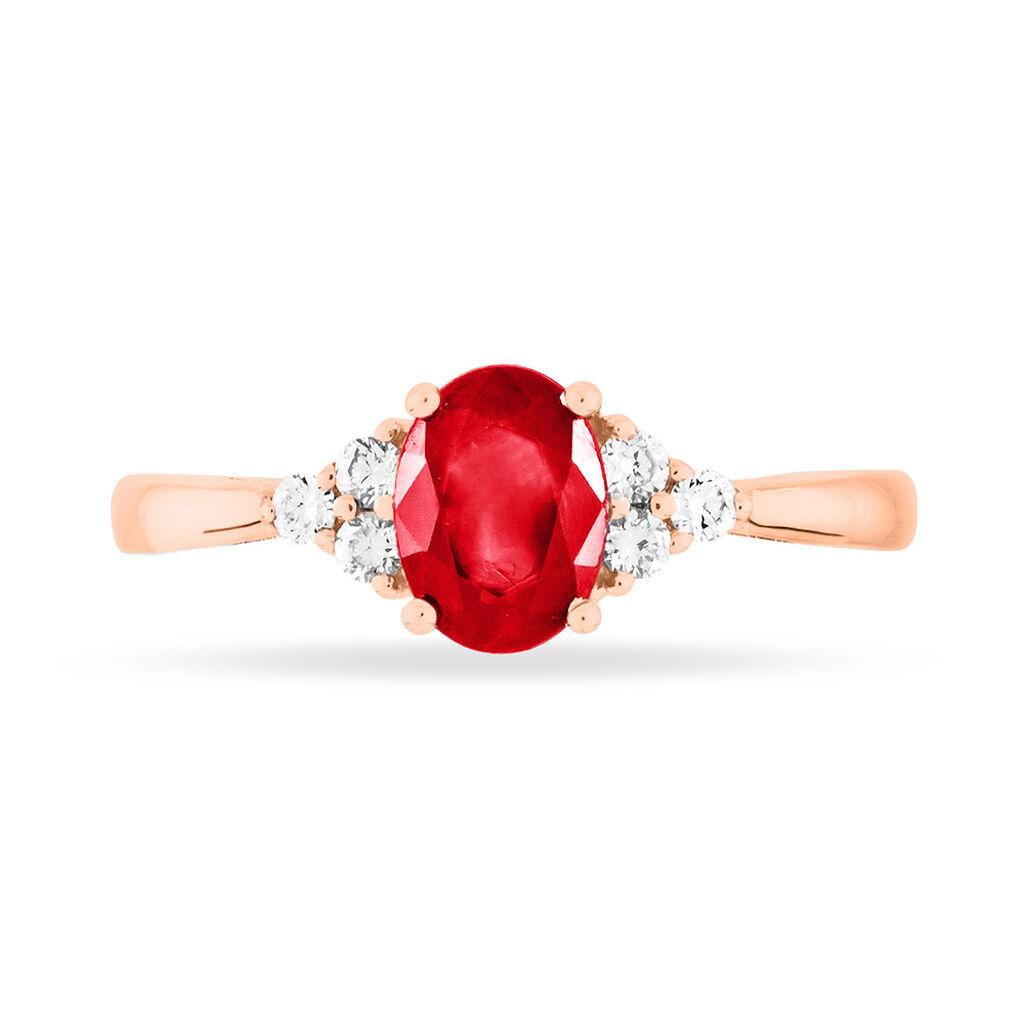 Bague Lea Or Rose Rubis Et Diamant - Bagues avec pierre Femme | Histoire d'Or