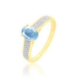 Bague Crista Or Jaune Topaze Et Diamant - Bagues avec pierre Femme   Histoire d'Or