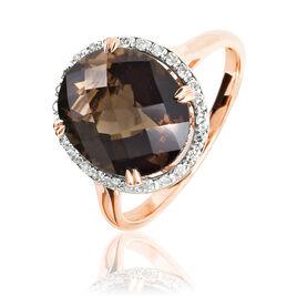 Bague Anna Or Rose Quartz Et Diamant - Bagues solitaires Femme | Histoire d'Or