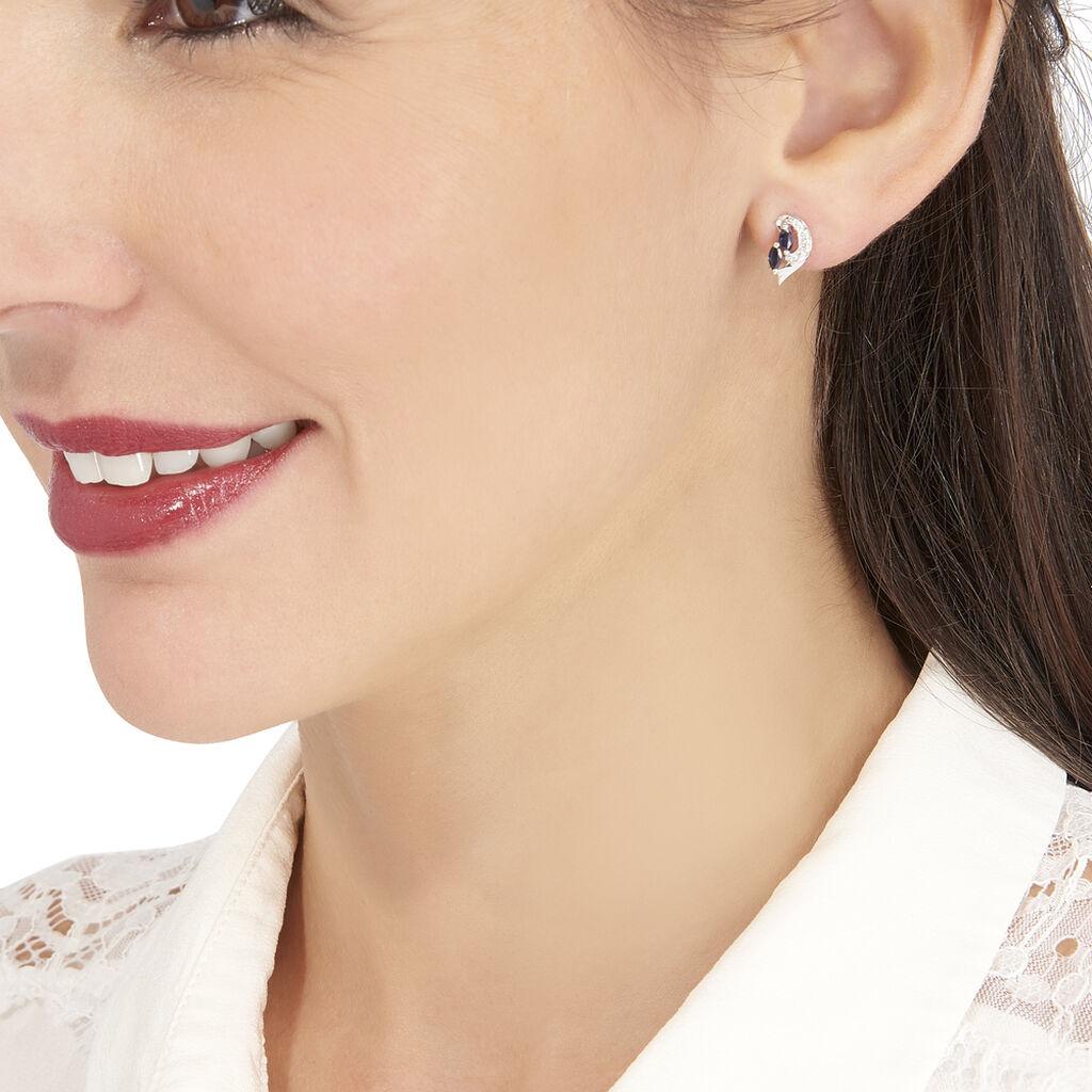 Boucles D'oreilles Puces Sakina Or Blanc Saphir Et Diamant - Clous d'oreilles Femme   Histoire d'Or