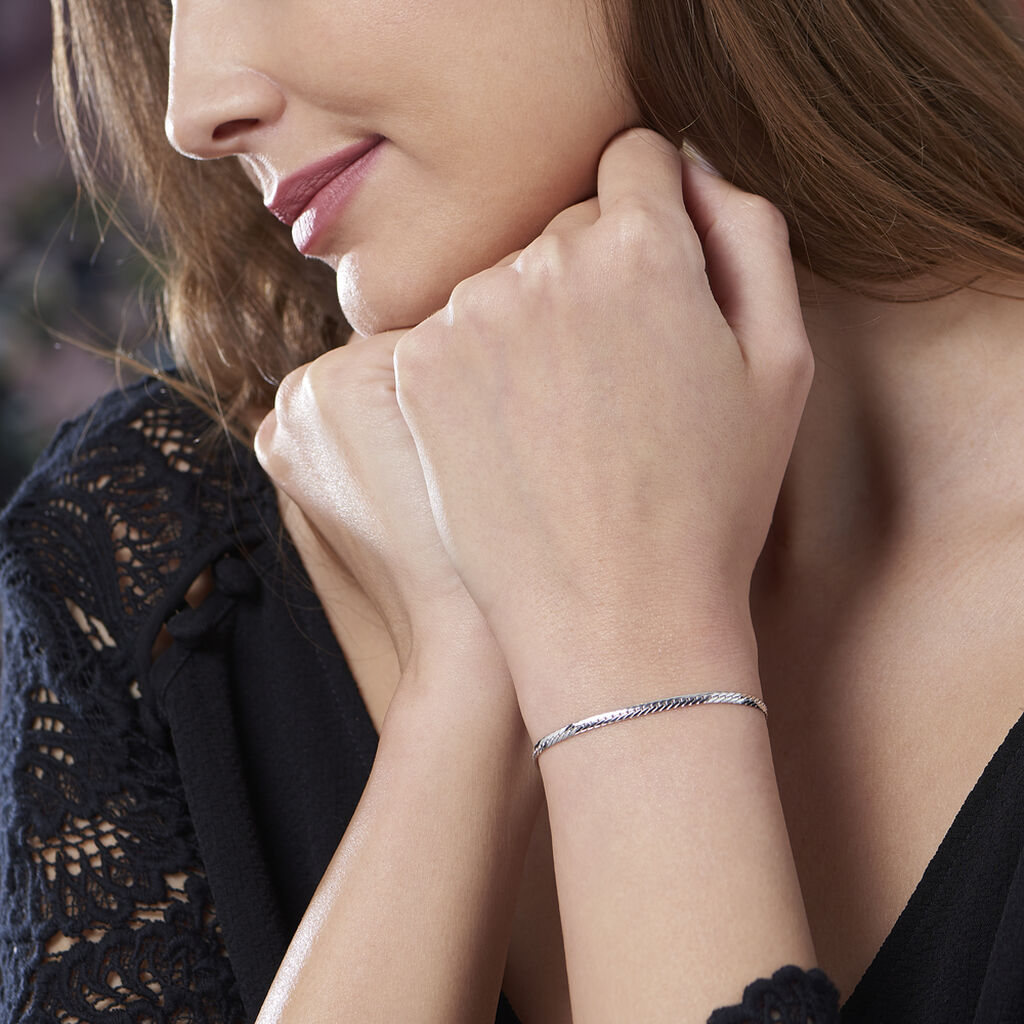 Bracelet Izel Maille Anglaise Or Blanc - Bracelets chaîne Femme | Histoire d'Or