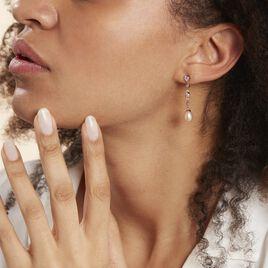 Boucles D'oreilles Pendantes Lynes Argent Rose Perle De Culture - Boucles d'oreilles fantaisie Femme | Histoire d'Or