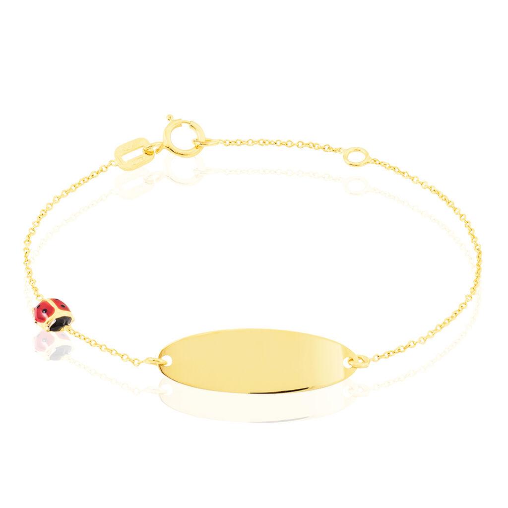 Bracelet Identité Helee Coccinelle Or Jaune - Bracelets Communion Enfant   Histoire d'Or