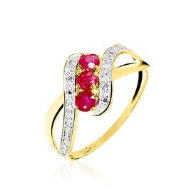 Bague Simma Or Jaune Diamant Et Rubis - Bagues avec pierre Femme | Histoire d'Or