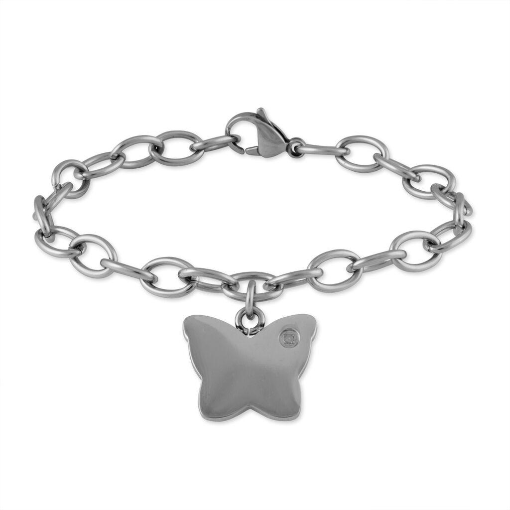 Bracelet Adea Acier Blanc Diamant - Bracelets Papillon Femme   Histoire d'Or