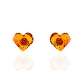 Boucles D'oreilles Puces Nida Argent Blanc Ambre - Boucles d'Oreilles Coeur Femme | Histoire d'Or