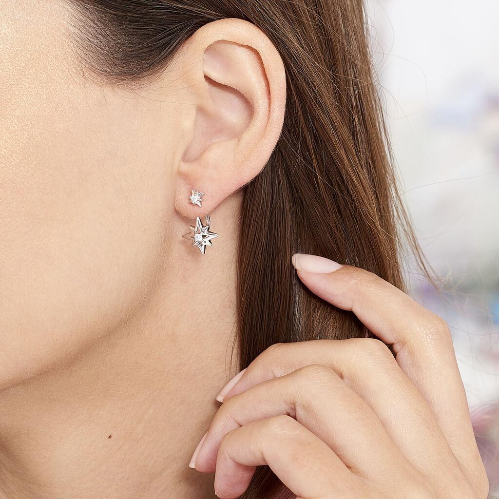 Boucles D'oreilles Pendantes Beverlie Argent Blanc Oxyde De Zirconium - Boucles d'Oreilles Etoile Femme   Histoire d'Or