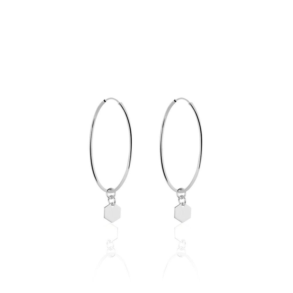 Créoles Massa Pampille Argent Blanc - Boucles d'oreilles créoles Femme | Histoire d'Or
