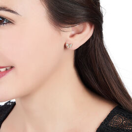 Boucles D'oreilles Puces Kassendra Plaque Or Jaune Oxyde De Zirconium - Boucles d'Oreilles Papillon Femme | Histoire d'Or