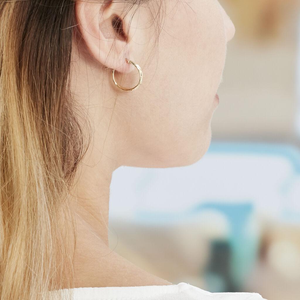 Créoles Ananas Demi Jonc Or Jaune - Boucles d'oreilles créoles Femme | Histoire d'Or