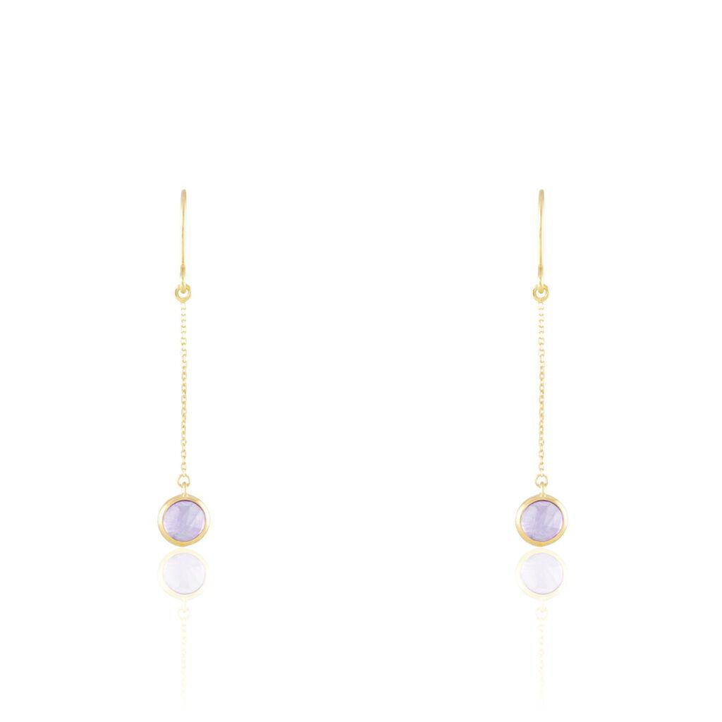 Boucles D'oreilles Pendantes Arenale Or Jaune Amethyste - Boucles d'oreilles pendantes Femme | Histoire d'Or