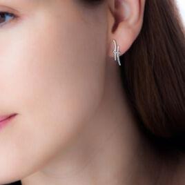 Boucles D'oreilles Pendantes Lisella Or Bicolore Diamant - Boucles d'oreilles pendantes Femme | Histoire d'Or