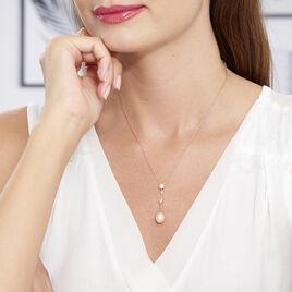Collier Lynes Argent Rose Perle De Culture Et Oxyde De Zirconium - Colliers fantaisie Femme | Histoire d'Or