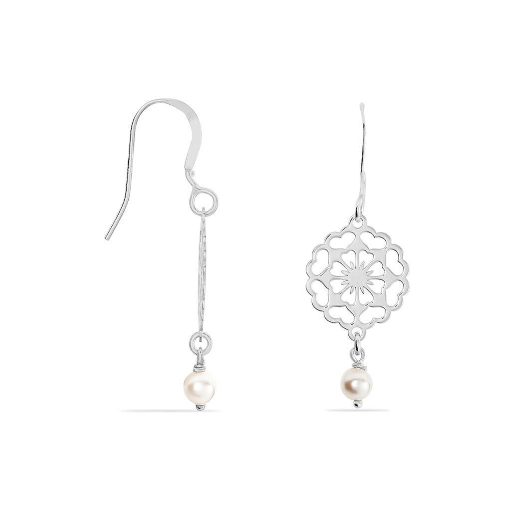Boucles D'oreilles Pendantes Enaelle Argent Blanc Perle D'imitation - Boucles d'oreilles fantaisie Femme   Histoire d'Or