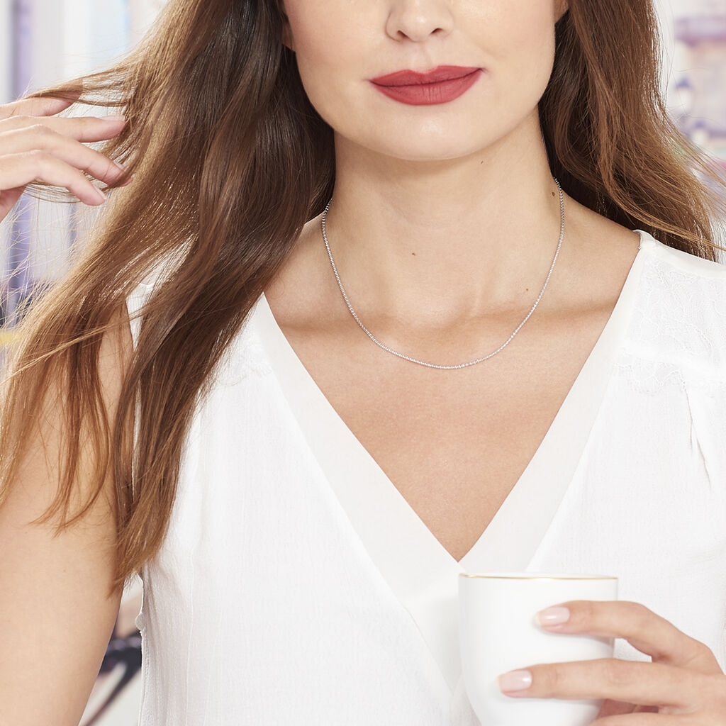 Collier Nahila Maille Popcorn Argent Blanc - Chaines Femme | Histoire d'Or