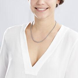 Collier Amadeo Maille Popcorn Acier Blanc - Colliers fantaisie Femme   Histoire d'Or
