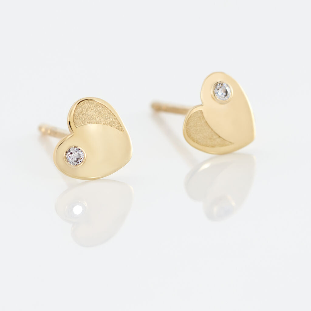 Boucles D'oreilles Puces Daria Coeur Plein Or Jaune Oxyde De Zirconium - Boucles d'Oreilles Coeur Femme   Histoire d'Or