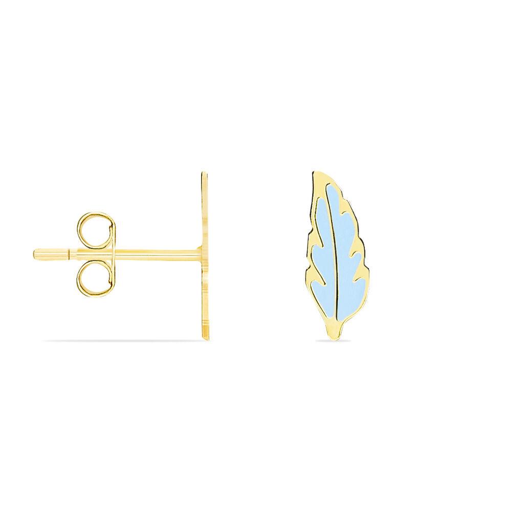 Boucles D'oreilles Puces Marion Plume Or Jaune - Boucles d'Oreilles Plume Enfant   Histoire d'Or