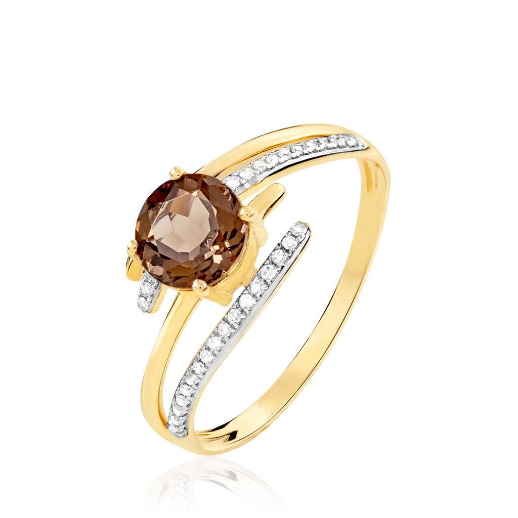 Bague Rehanne Or Jaune Quartz Et Diamant - Bagues avec pierre Femme   Histoire d'Or