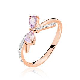 Bague Ilda Or Rose Amethyste Et Diamant - Bagues avec pierre Femme   Histoire d'Or
