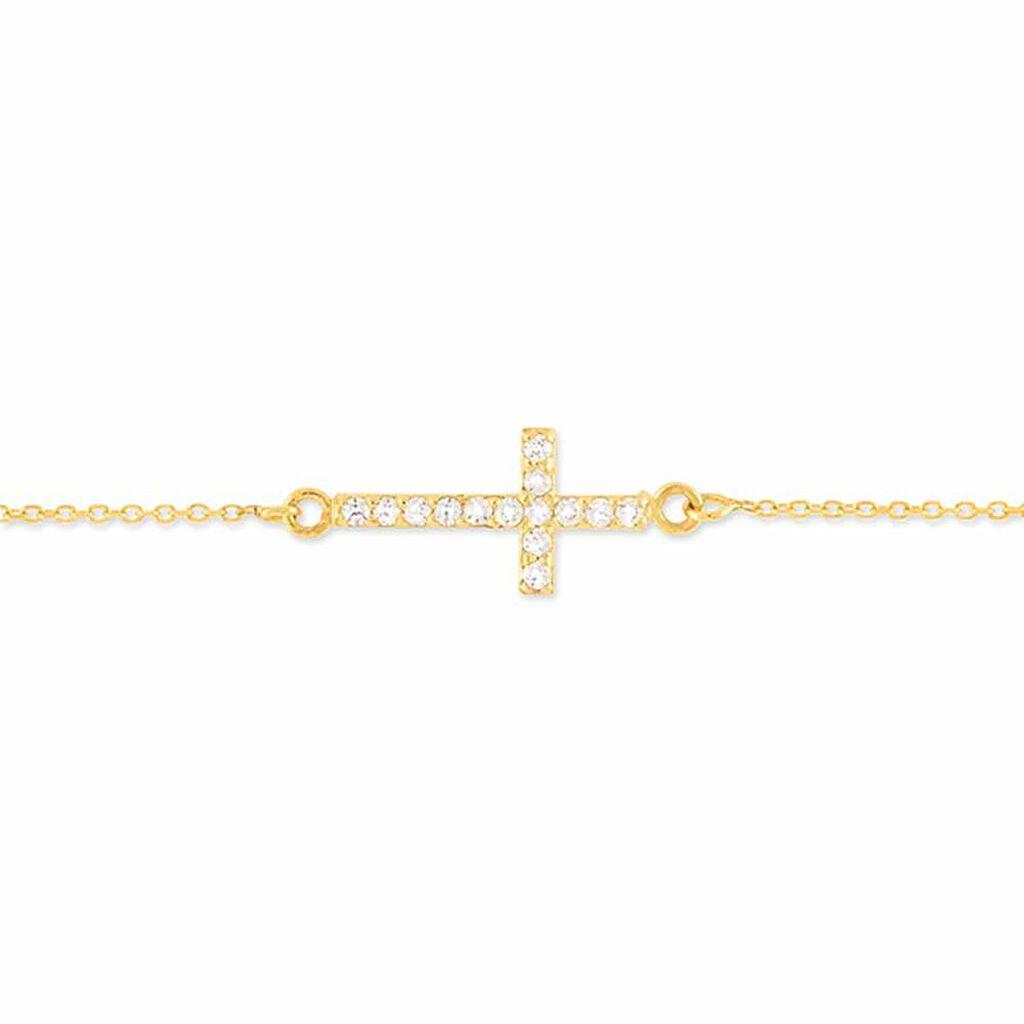 Bracelet Cobeia Croix Maille Forçat Or Jaune Oxyde De Zirconium - Bracelets Croix Femme | Histoire d'Or