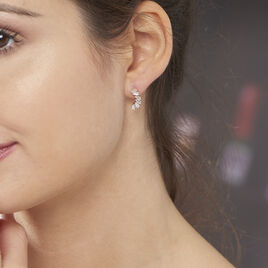 Bijoux D'oreilles Merya Plaque Or Rose Oxyde De Zirconium - Boucles d'oreilles fantaisie Femme   Histoire d'Or