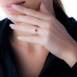 Bague Orlana Or Blanc Diamant Et Rubis - Bagues solitaires Femme | Histoire d'Or