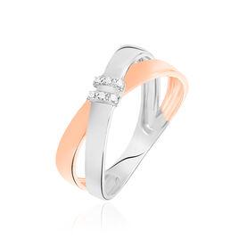Bague Or Bicolore Tonnia Croise Diamants - Bagues avec pierre Femme | Histoire d'Or