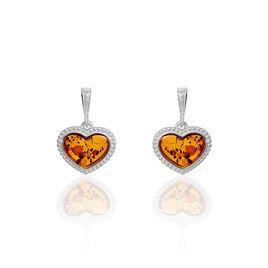 Boucles D'oreilles Pendantes Love Argent Blanc Ambre - Boucles d'Oreilles Coeur Femme   Histoire d'Or