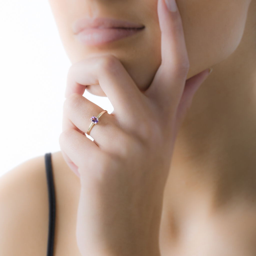 Bague Lily Or Rose Rubis - Bagues solitaires Femme   Histoire d'Or
