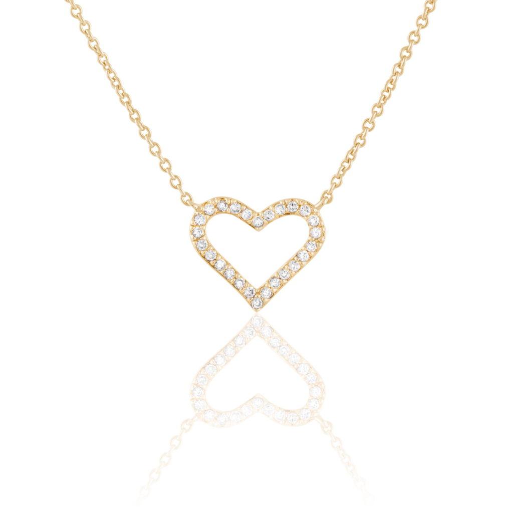 Collier Freda Plaque Or Jaune Oxyde De Zirconium - Colliers Coeur Femme | Histoire d'Or