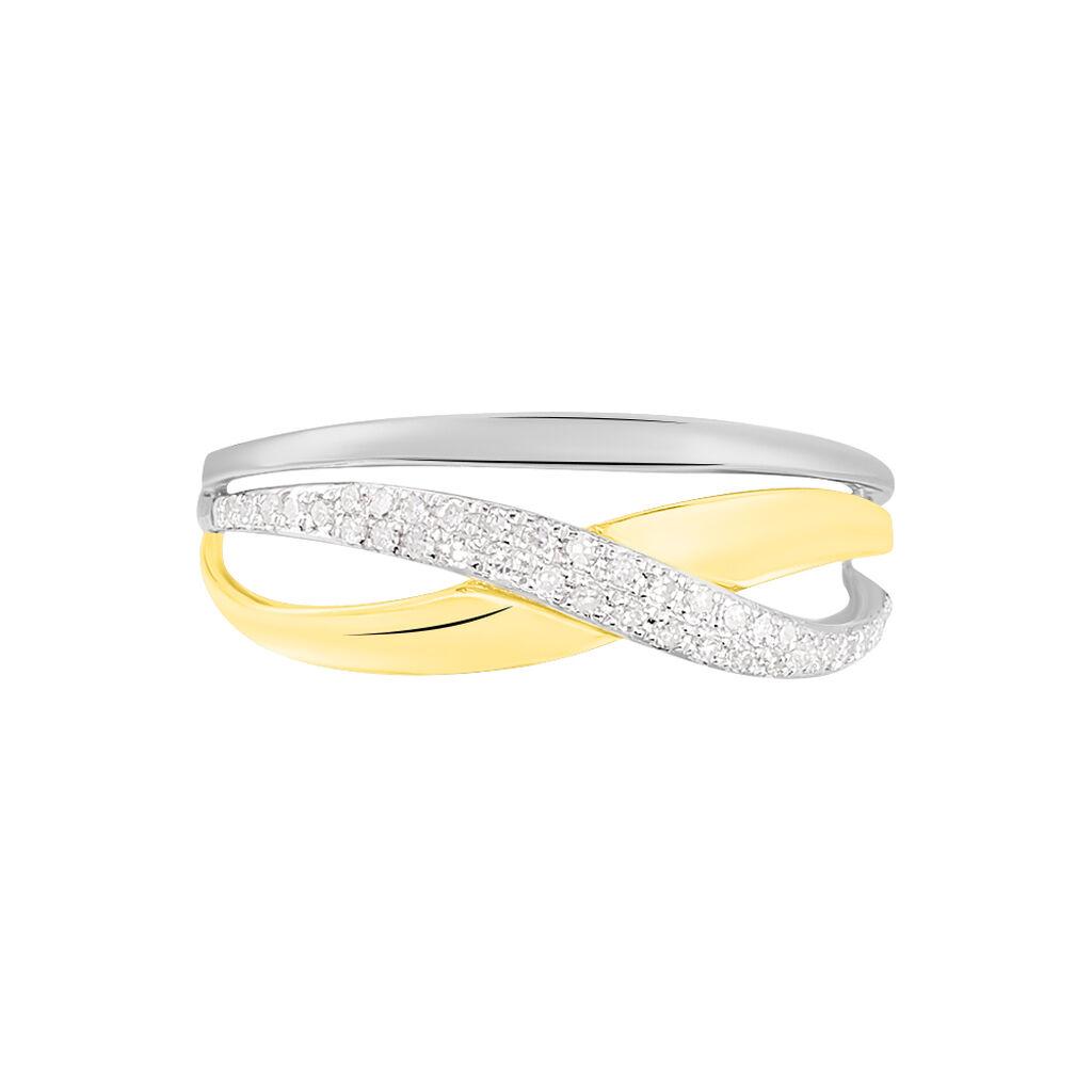 Bague Nene Or Bicolore Diamant - Bagues Croix Femme   Histoire d'Or